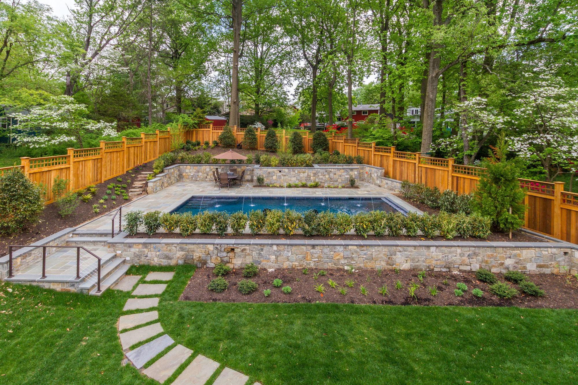 custom home pool and outdo landscape