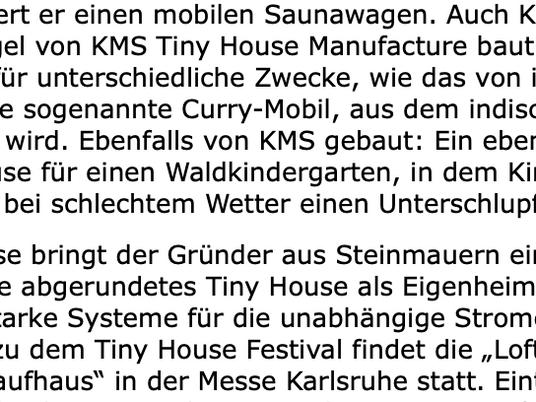 Stadtzeitung Karlsruhe Ausgabe vom 26. April 2019 - Erwähnung KMS Tiny Houses