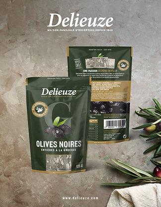 sachets olives Delieuze, olives noire façon Grèce