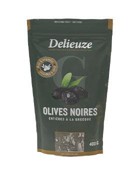Sachet doy pack olives noires entières à la grecque 400 g
