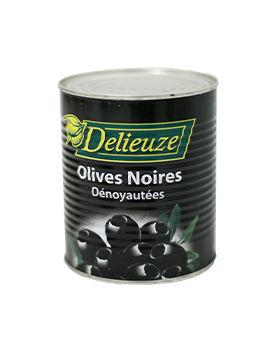 Boite 4/4 olives noires dénoyautées Delieuze