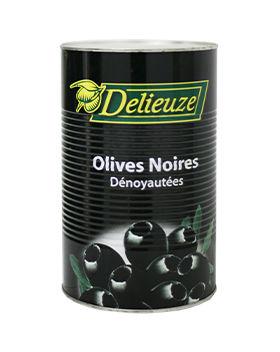 Boite 5/1 olives noires dénoyautées calibre 26 Delieuze
