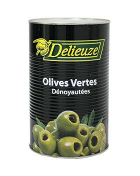 Boite 5/1 olives vertes dénoyautées calibre 26 Delieuze
