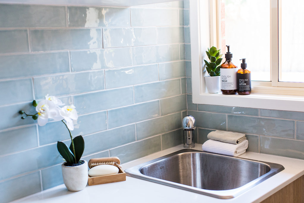 Laundry sink and subway tiles