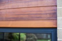 Cedar cladding on external wall