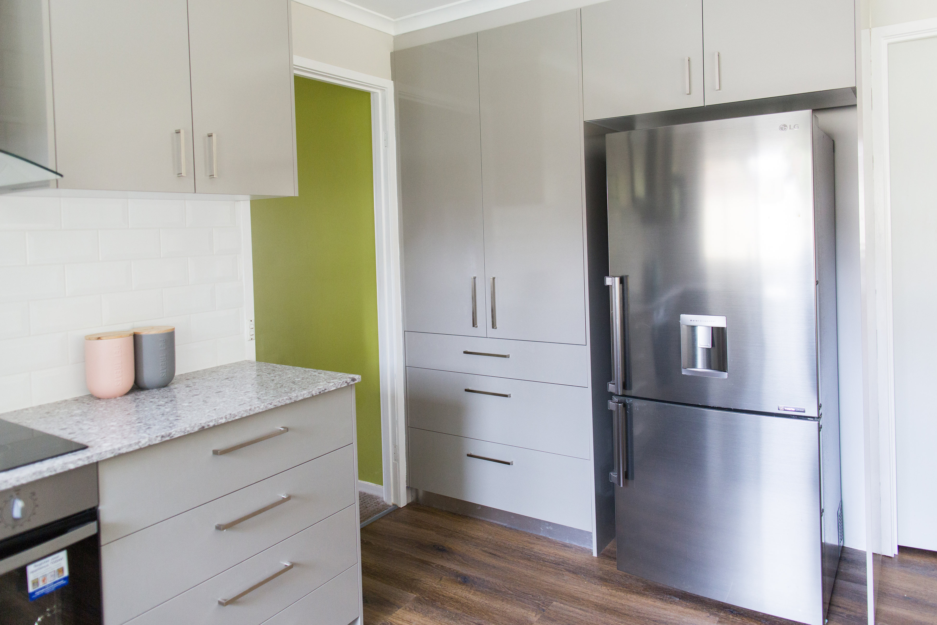 View to fridge and pantry