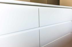 Handleless fingerpull drawers