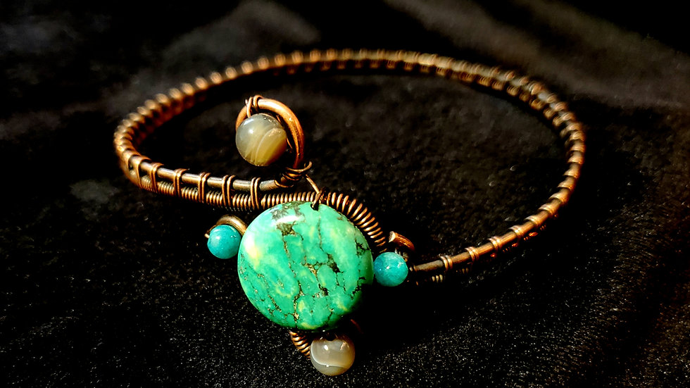 Bracelet: Turquoise, Amazonite, Agate, Woven Copper