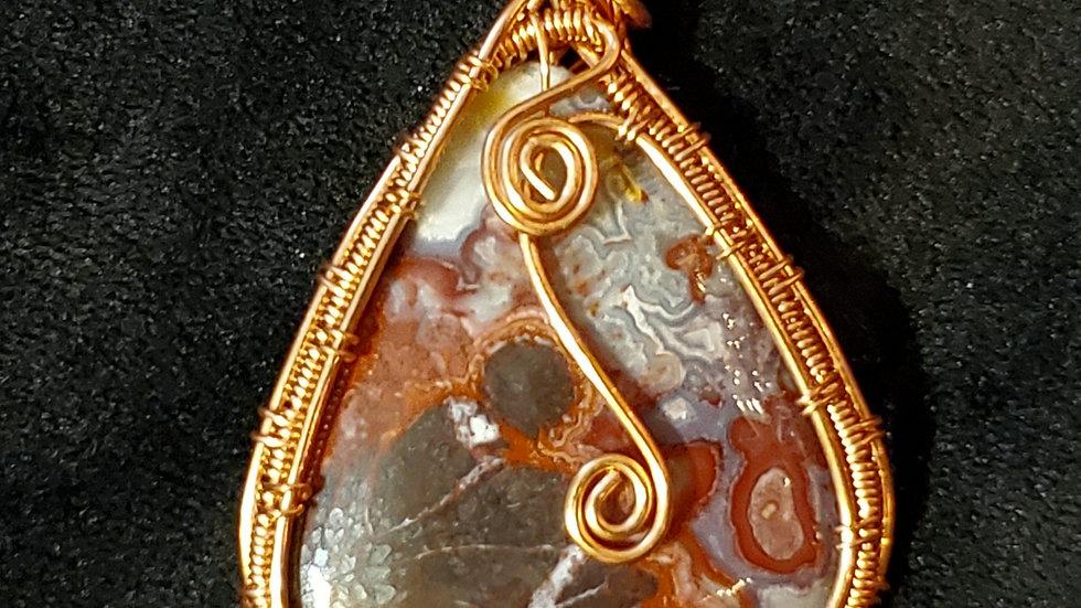 Pendant: Lace Agate in Woven Copper