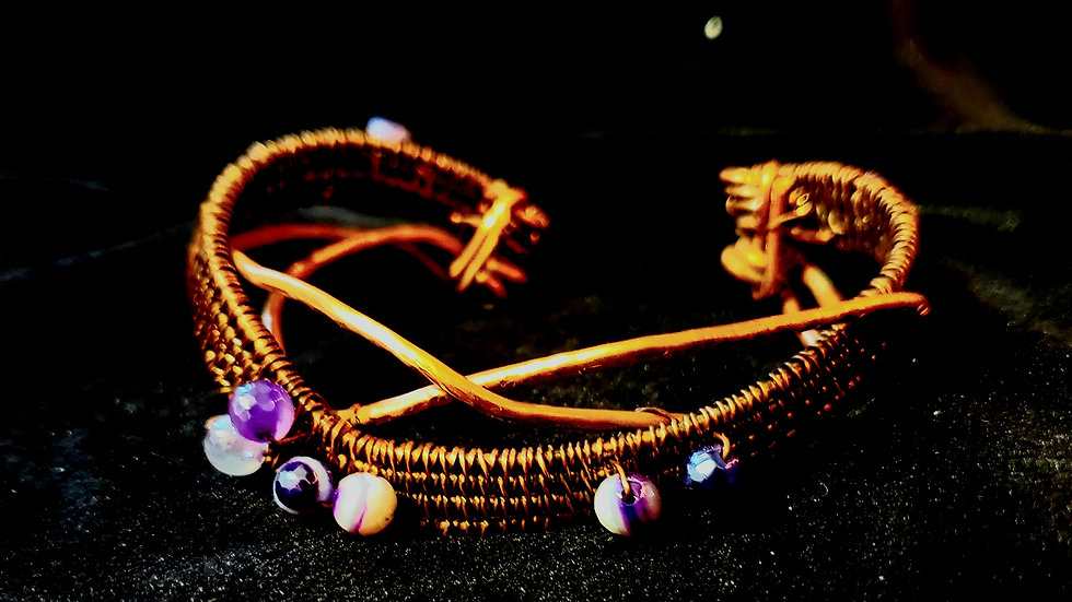Bracelet: Plated Agate Woven Copper