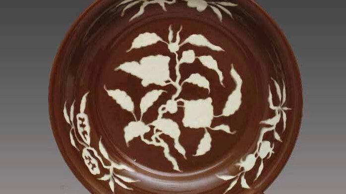 红白碗 Violet Gold Glazed Bowl with Plain White Space in Fruit and Flower Patterns