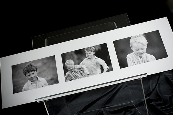 """Triptych wooden art board with three 7"""" x 5"""" photographs"""