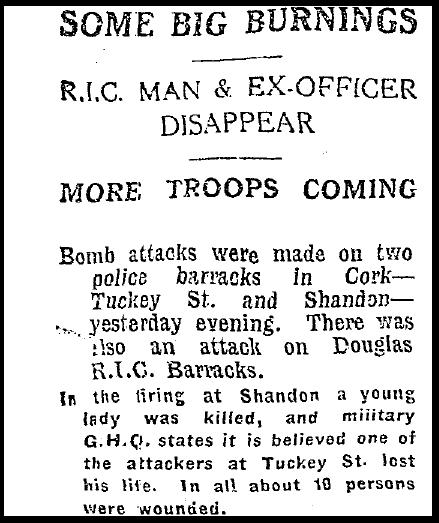 Irish Independent - Unrest in Cork 1921