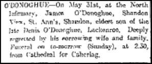 Death notice James O'Donoghue