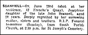 Death Notice - Josephine Scannell