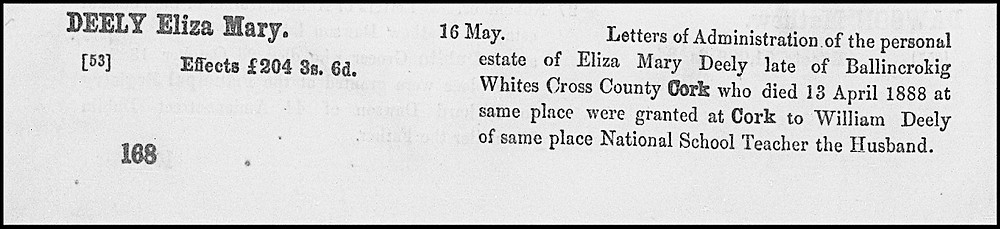 Will of Eliza Mary Deely