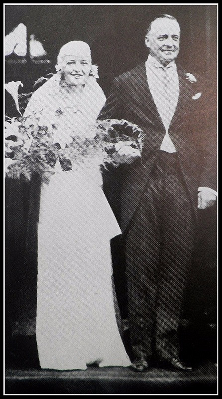 Fourth Baron with his bride Ruth Gill.