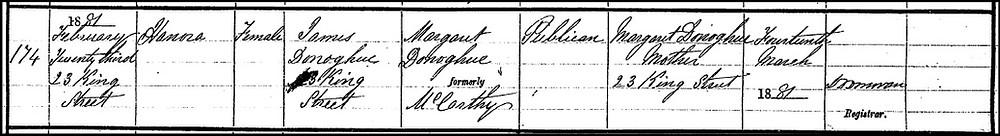 Birth certificate, Nora Lynch nee O'Donoghue