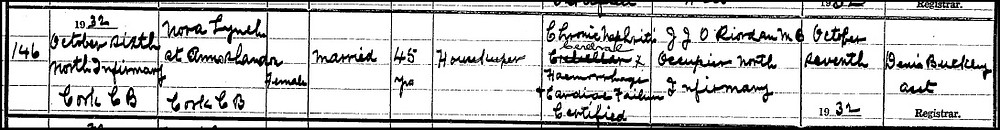 Death certificate, Nora Lynch, 1932