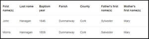 Parish Baptism Search Results