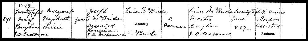 Birth Certificate for Margaret McBride