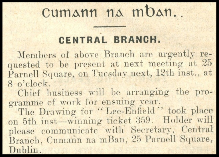 Notice of Cumann na mBan Meeting 1915.