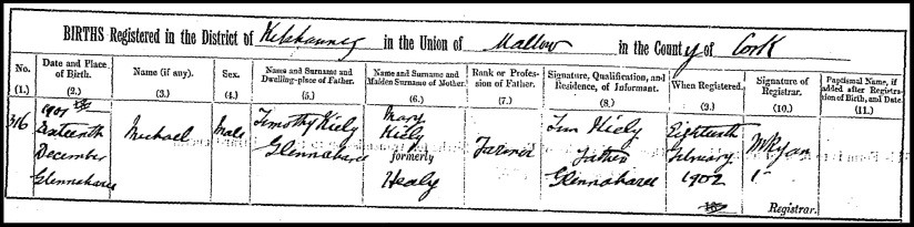 Birth certificate of Michael Kiely