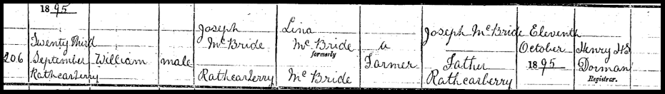 Birth Certificate of William McBride