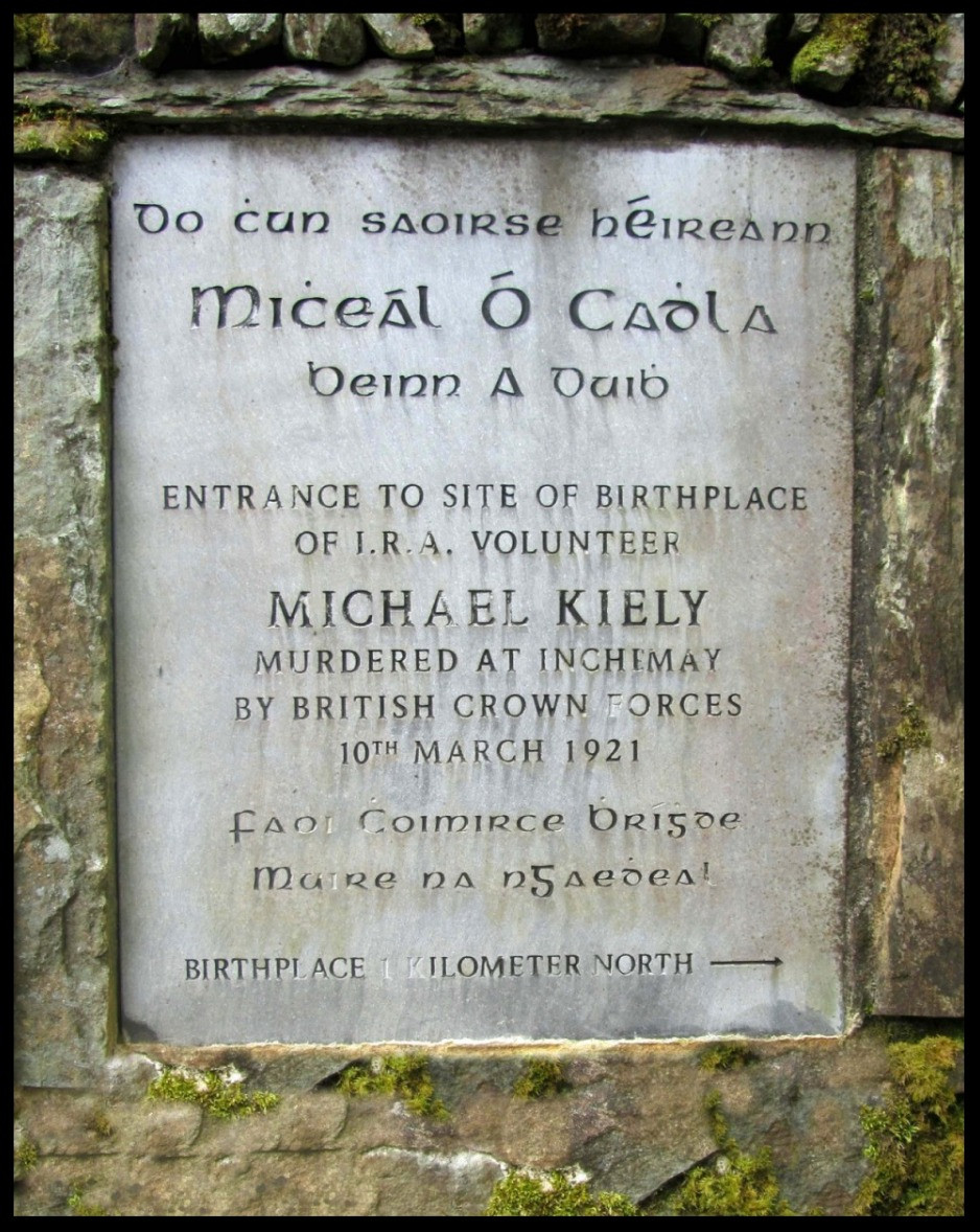 Plaque close to Michael Kiely's birthplace, Glannaharee.