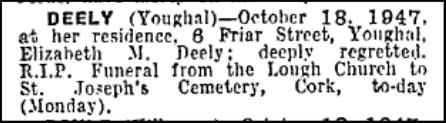 Death Notice - Eliza Deely