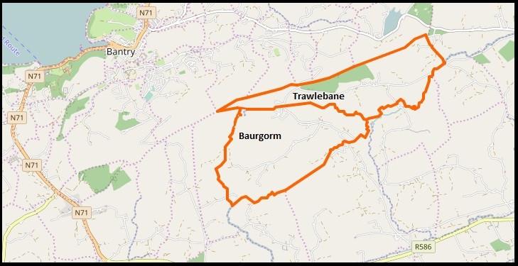 Map showing proximity of Baurgorm & Trawlebane