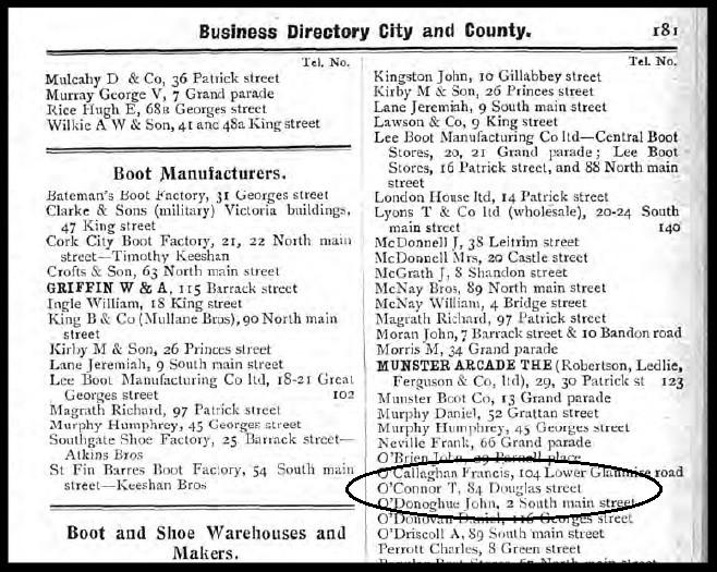 1907 Guys Cork Street Directory
