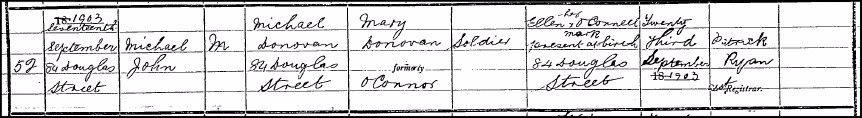 Birth registration of Frank O'Connor, 1903