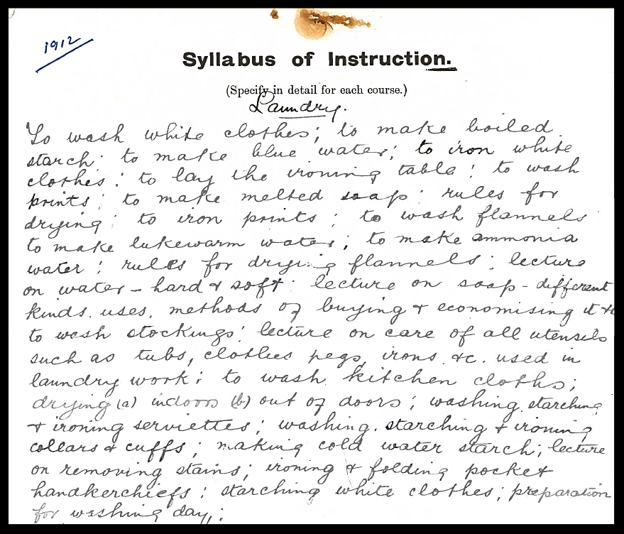 Upper Glanmire Laundry syllabus 1912.