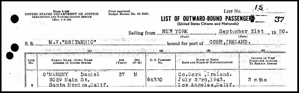 Passenger List MV Britannic