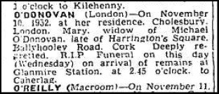 Death notice of Minnie O'Connor, 1952.