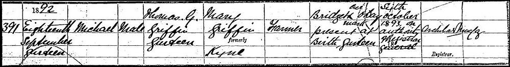 Daniel O'Mahony birth registration