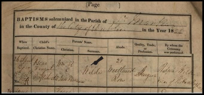 Oscar Wilde, Baptismal Record, St. Marks Church of Ireland Parish, 1855
