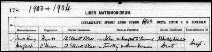 Lord Dungarvan Marriage Entry