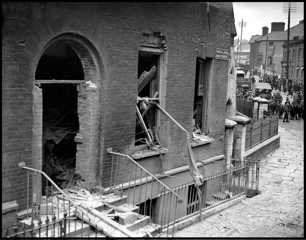Aftermath of bombing of King Street (MacCurtain) RIC Barracks, 1920