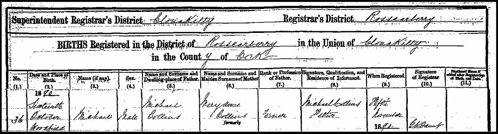 Register of the birth of Michael Collins