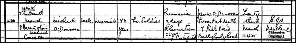 Death certificate, Michael Donovan, 1942.