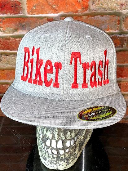 Gray Flexfit hat with Red writing
