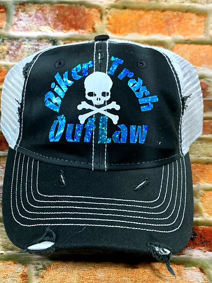 Black and White  Hat with Holographic Blue Writing