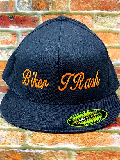 Black Fitted Hat with Orange Script L/XL