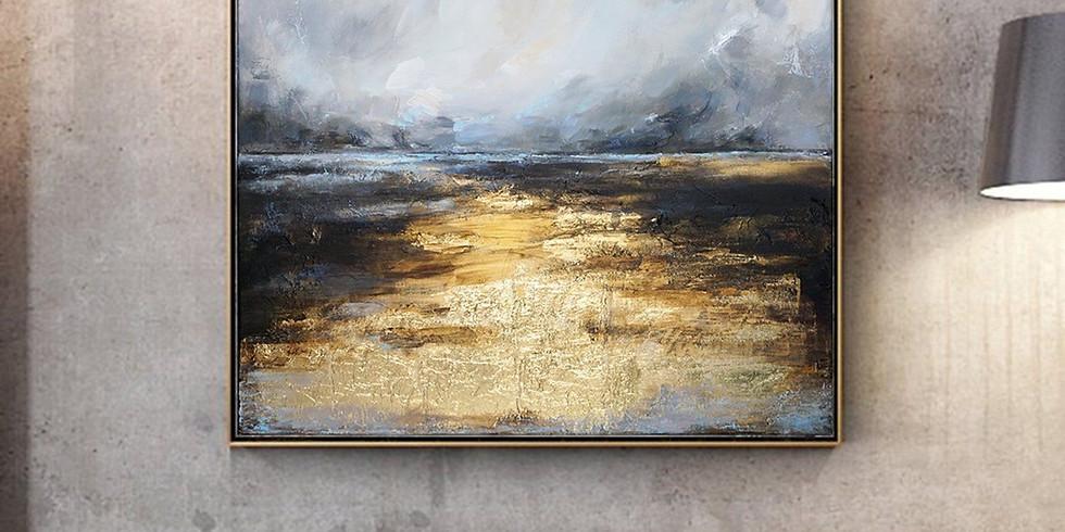 МК Интерьерная живопись «Море с Золотой поталью»