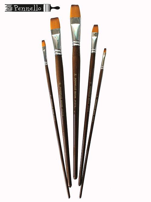 Кисть Pennello DELUXE синтетика плоская, длинная ручка