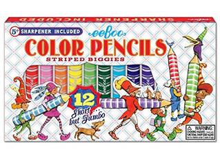 eeBoo 12 color Pencils Striped Biggies