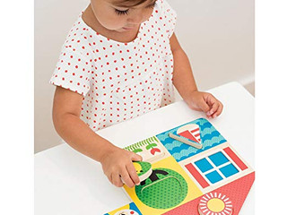 Petit Collage 2-In-1 Double-Sided Wooden Tray Puzzle, Day and Night