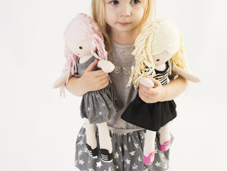 "Amy Coe, Sunny, Betty and Lola 15"" fabric dolls"